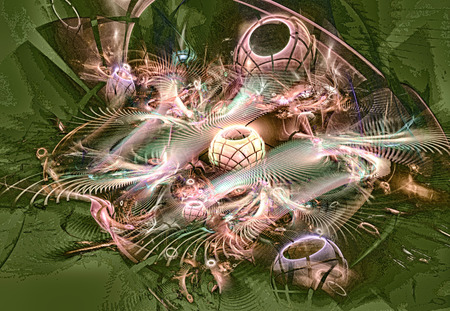 range of motion: Fractal image resembling Christmas decorations, balls, garlands.