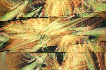 reminiscent: The fractal image, where the lines and colors form a pattern, reminiscent of autumn leaves. Stock Photo