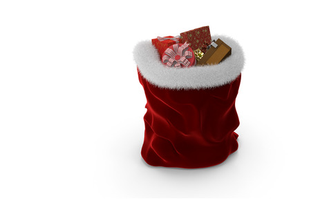 Beautiful bag Santa Claus red velvet trimmed with white fur and filled with various gifts. Presented on a white background.