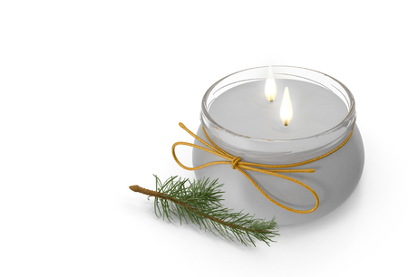 Two lighted candles in the vessel, next to a sprig of spruce. Presented on a white background. 3D image. Stock Photo