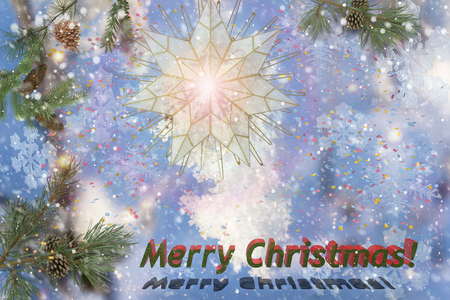 urban idyll: Christmas star, pine branch, snowflakes, snow. Greeting the inscription: merry Christmas.