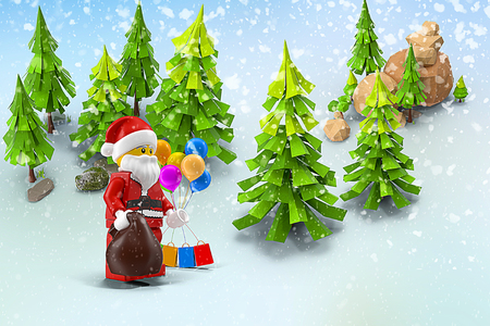 christmas story: Christmas story: snow-covered forest Santa Claus with gifts. 3D rendering in the form of a cartoon. Stock Photo