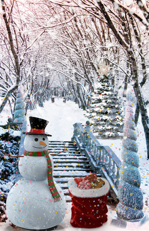 Christmas: winter Park Snowman with gifts, trees covered with snow..