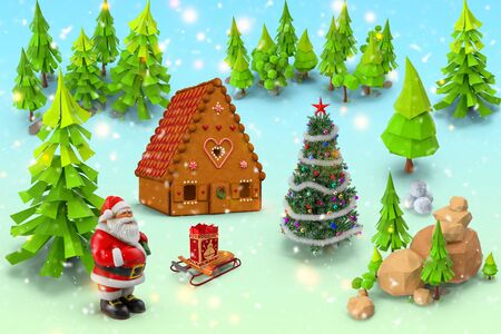 Christmas story: snow-covered forest Santa Claus with gifts. 3D rendering in the form of a cartoon. Stock Photo