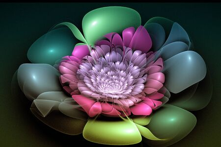 unreal: Abstract fractal image with a flower fancy unreal shape and beauty. Stock Photo