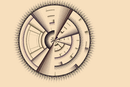science symbols metaphors: Abstract image: a fractal structure to form a pattern in the form of a disk.