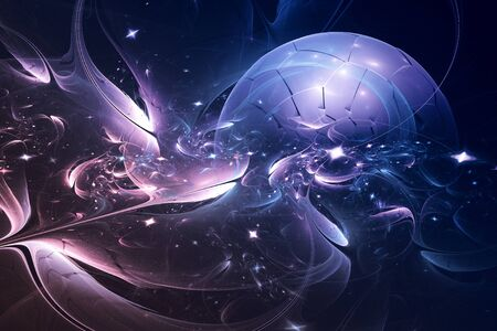 circumference: Fractal lines form a ball that resembles a planet surrounded by a luminous cosmic objects. Stock Photo