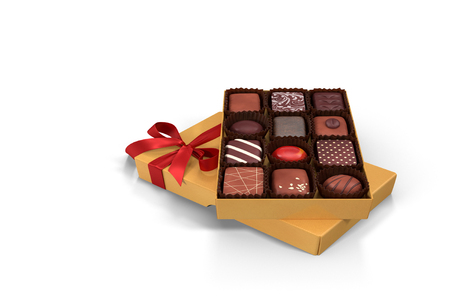 3D illustration: beautifully designed and decorated with ribbon gift box of chocolates for Christmas, anniversary, birthday.