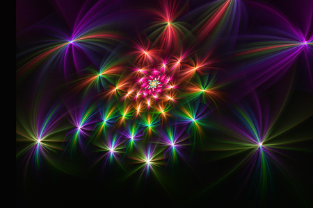 Fractal image of colorful lines, creating bright beams of colorful elements.