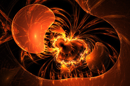 Illustration: fractal lines are woven into the intricate pattern, resembling a volcanic eruption. Stock Photo