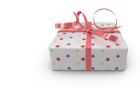 d: A beautifully decorated and tied with a ribbon box with a gift for the holiday, celebration, anniversary. Presents on a white background. 3D rendering.