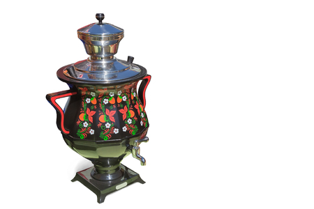 Beautiful electric samovar, decorated with paintings. Presented on a white background.