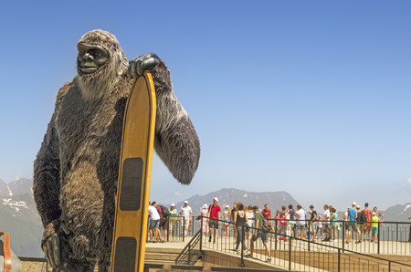 In the mountains at the highest point of the ski resort created the symbolic figure of Bigfoot.