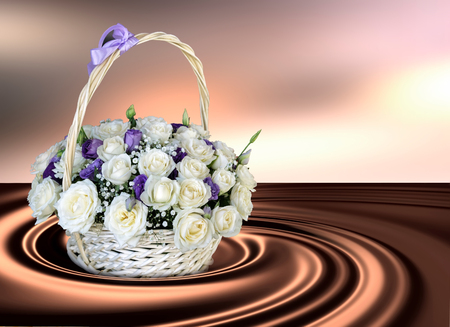 On an abstract background of swirling chocolate is worth a basket of white roses. Background 3D illustration.
