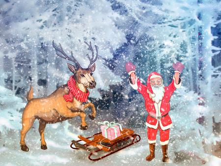 motivos navideños: Motivos de Navidad: en un bosque cubierto de nieve con Santa Claus, junto a los ciervos y trineo con regalos.