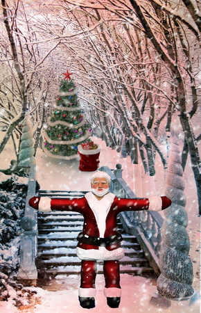 Christmas: winter Park, Santa Claus with gifts, trees covered with snow..3D rendering