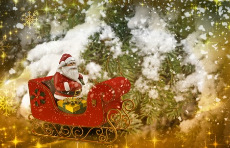 In the winter forest among the snowy spruces Jolly Santa Claus on sleigh with gifts. 3D rendering