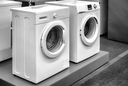 The hardware store is for sale a modern washing machine of different manufacturers and with different type of Laundry load.