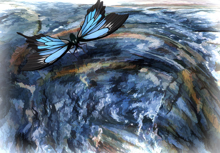 Surreal landscape: a large blue butterfly flying over a precipice . 3D rendering. Foto de archivo - 98552989