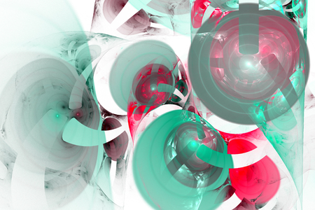 Fractal image of fantastic bizarre balls of different shapes and colors. Stock Photo