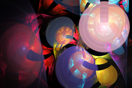 Fractal image of fantastic bizarre balls of different shapes and colors. Reklamní fotografie