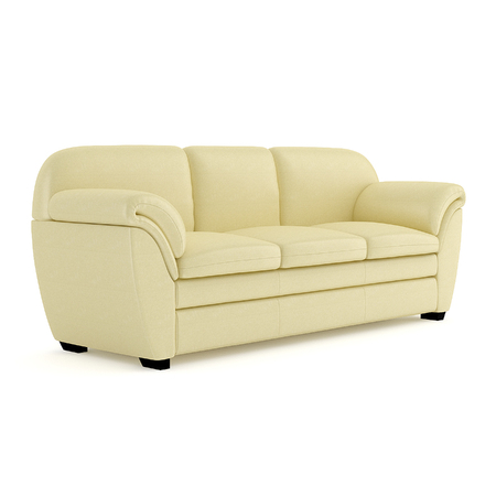 Comfortable sofa with cushions, covered with light yellow material. 3D rendering. Imagens