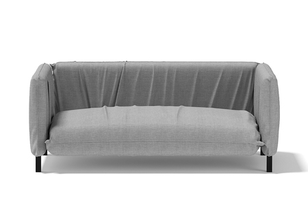 Comfortable sofa with pillows, covered with gray material. 3D rendering.