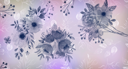Flowers in pastel colors in vintage style. Stock Photo