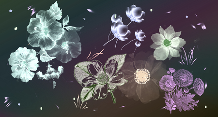 Floral set in vintage style, black background. A set of floral elements for your compositions. Pencil drawing style. Фото со стока