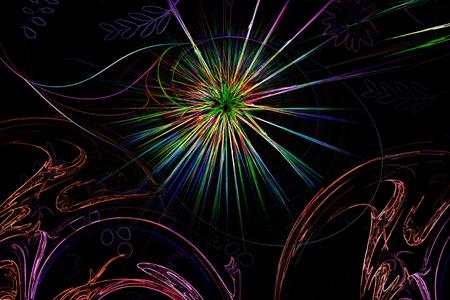 Fractal lines form geometric patterns in bright colors. Reklamní fotografie