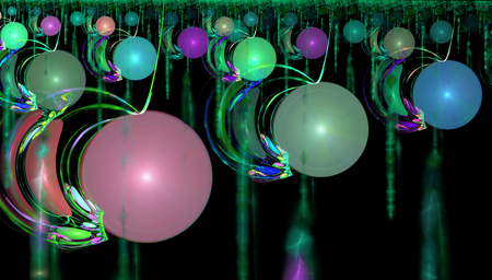 Fractal image of fantastic bizarre balls of different colors and sizes. Stock Photo