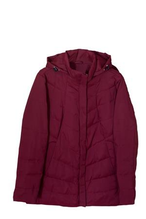 Comfortable and warm womens demi-season jacket with hood and clasp Burgundy color. Zdjęcie Seryjne
