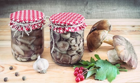 Home preservation of products: glass jars with pickled mushrooms with spices closed 免版税图像