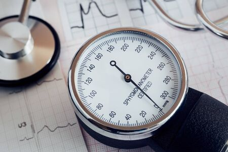 Medical devices: a stethoscope for auscultation of patients and apparatus for measuring of blood pressure. Stock Photo