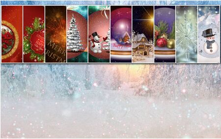 Collage of ten Christmas images on the background of the winter forest Stock Photo - 130038856