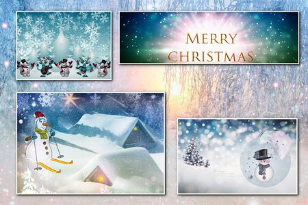Collage of four Christmas images on the background of the winter forest Stock Photo