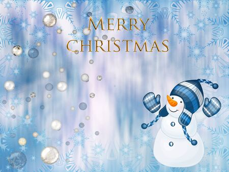 Christmas greeting card with the image of a snowman. Standard-Bild - 130146617