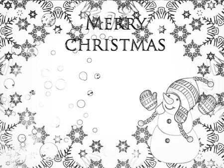Christmas greeting card with the image of a snowman. Standard-Bild - 130146618