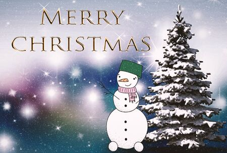 Beautiful Christmas card in vintage style with a picture of a snowman. Standard-Bild - 130146819