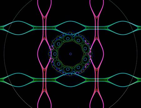 Fractal image with a fancy pattern of bright colors in the art Nouveau style.