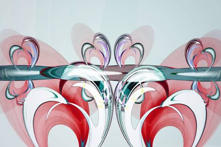 Abstract image with a whimsical pattern of bright colors in the art Nouveau style on a light background. Фото со стока