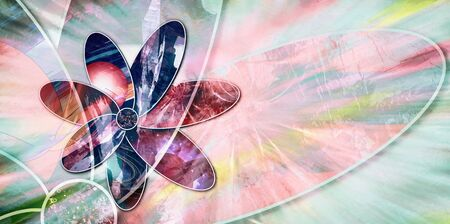 On a light background abstract flower with petals with different pattern
