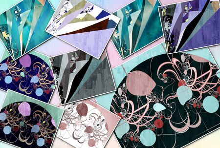 Collage of nine abstract images with bright fantastic pattern . Delicate textured background in pastel colors. Creative mood Board theme Фото со стока