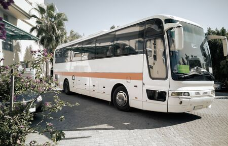 Tourist bus at the entrance to the hotel