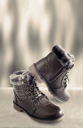 Comfortable and warm winter boots with gray fur inside, zipper and lace-up. Presented on a light background.