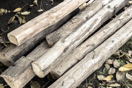 Old used wooden planks after renovation of the premises