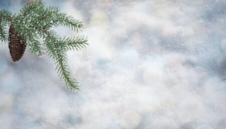 A fir cone hangs on snow-covered fir branches against a background of snow cover with bokeh. Christmas card. 3D rendering 写真素材