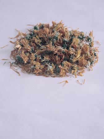 Valuable medicinal raw materials: dried calendula flowers 写真素材