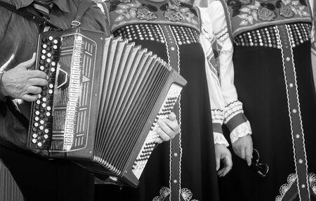 A man plays a folk musical instrument