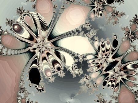 Fractal image on a light background colored lines, intricately woven in a beautiful pattern . 写真素材